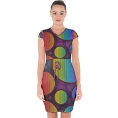 Background Colorful Abstract Circle Capsleeve Drawstring Dress