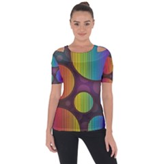 Background Colorful Abstract Circle Short Sleeve Top