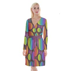 Background Colorful Abstract Circle Long Sleeve Velvet Front Wrap Dress