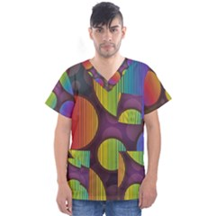 Background Colorful Abstract Circle Men s V Neck Scrub Top