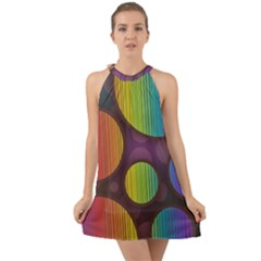 Background Colorful Abstract Circle Halter Tie Back Chiffon Dress