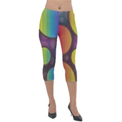 Background Colorful Abstract Circle Lightweight Velour Capri Leggings