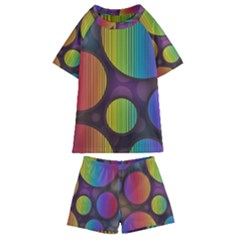 Background Colorful Abstract Circle Kids  Swim Tee And Shorts Set