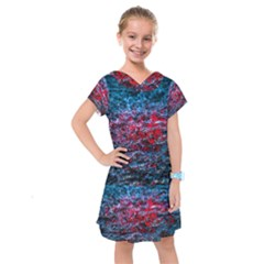 Water Color Red Kids  Drop Waist Dress by FunnyCow