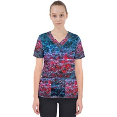 Water Color Red Scrub Top