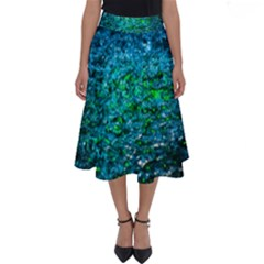 Water Color Green Perfect Length Midi Skirt by FunnyCow