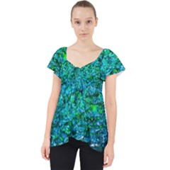 Water Color Green Lace Front Dolly Top by FunnyCow