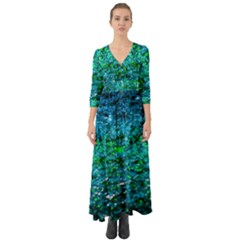 Water Color Green Button Up Boho Maxi Dress by FunnyCow