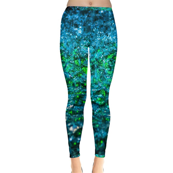 Water Color Green Inside Out Leggings