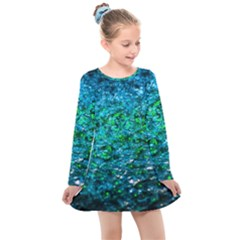 Water Color Green Kids  Long Sleeve Dress