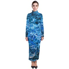 Water Color Blue Turtleneck Maxi Dress by FunnyCow