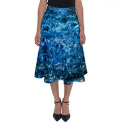 Water Color Blue Perfect Length Midi Skirt by FunnyCow