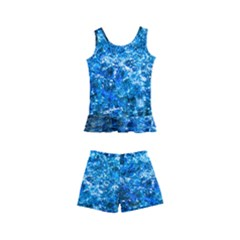 Water Color Blue Kid s Boyleg Swimsuit by FunnyCow