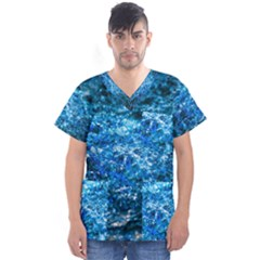 Water Color Blue Men s V Neck Scrub Top by FunnyCow