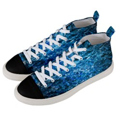 Water Color Blue Men s Mid Top Canvas Sneakers by FunnyCow