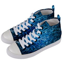Water Color Blue Women s Mid Top Canvas Sneakers by FunnyCow