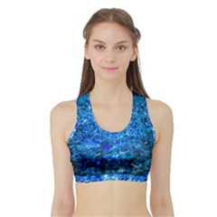 Water Color Navy Blue Sports Bra With Border by FunnyCow