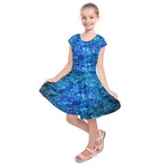 Water Color Navy Blue Kids  Short Sleeve Dress by FunnyCow