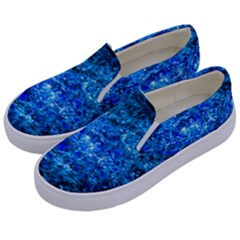 Water Color Navy Blue Kids  Canvas Slip Ons by FunnyCow