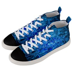 Water Color Navy Blue Men s Mid Top Canvas Sneakers by FunnyCow