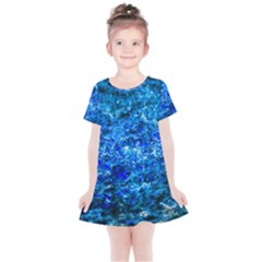 Water Color Navy Blue Kids  Simple Cotton Dress by FunnyCow