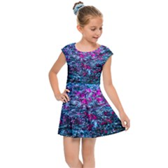 Water Color Violet Kids Cap Sleeve Dress by FunnyCow