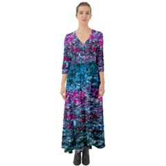 Water Color Violet Button Up Boho Maxi Dress by FunnyCow
