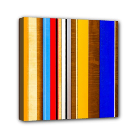 Colorful Stripes Mini Canvas 6  X 6  by FunnyCow