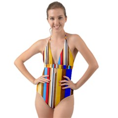 Colorful Stripes Halter Cut Out One Piece Swimsuit by FunnyCow