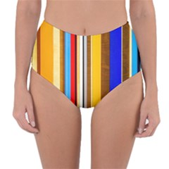 Colorful Stripes Reversible High-waist Bikini Bottoms by FunnyCow