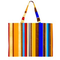 Colorful Stripes Zipper Large Tote Bag by FunnyCow