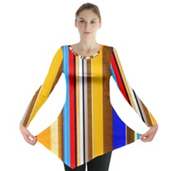Colorful Stripes Long Sleeve Tunic  by FunnyCow