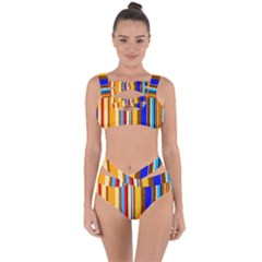 Colorful Stripes Bandaged Up Bikini Set  by FunnyCow