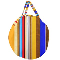 Colorful Stripes Giant Round Zipper Tote by FunnyCow