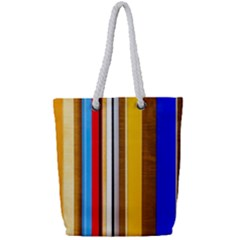 Colorful Stripes Full Print Rope Handle Tote (small) by FunnyCow