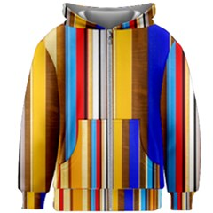 Colorful Stripes Kids Zipper Hoodie Without Drawstring