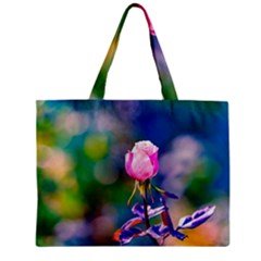Pink Rose Flower Zipper Mini Tote Bag by FunnyCow