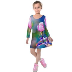 Pink Rose Flower Kids  Long Sleeve Velvet Dress by FunnyCow