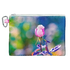 Pink Rose Flower Canvas Cosmetic Bag (xl) by FunnyCow