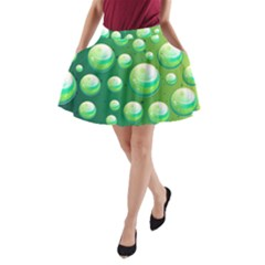 Background Colorful Abstract Circle A Line Pocket Skirt