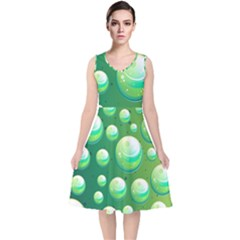 Background Colorful Abstract Circle V Neck Midi Sleeveless Dress