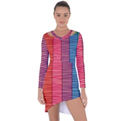 Background Colorful Abstract Asymmetric Cut Out Shift Dress
