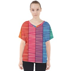 Background Colorful Abstract V Neck Dolman Drape Top