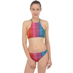 Background Colorful Abstract Racer Front Bikini Set