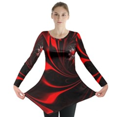 Abstract Curve Dark Flame Pattern Long Sleeve Tunic