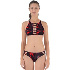 Abstract Curve Dark Flame Pattern Perfectly Cut Out Bikini Set by Nexatart