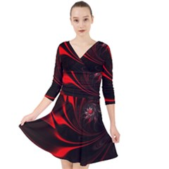 Abstract Curve Dark Flame Pattern Quarter Sleeve Front Wrap Dress