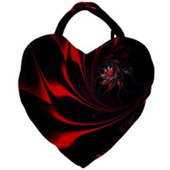 Abstract Curve Dark Flame Pattern Giant Heart Shaped Tote