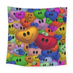 Heart Love Smile Smilie Square Tapestry (large)