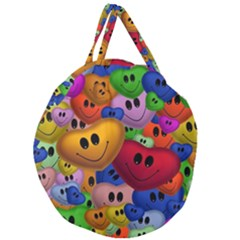 Heart Love Smile Smilie Giant Round Zipper Tote
